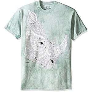 The Mountain Men's Colorwear Animals 10 Rhino Adult Coloring T-Shirt, Beige, X-Large