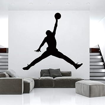 Hot Jordan Baloncesto Vinilo Etiqueta De La Pared Wallpaper Para La Habitación De Los Niños Decoración Del Dormitorio Mural Gym Decoración De La Habitación Accesorios Wallsticker Tamaño:56 * 59CM: Amazon.es: Bricolaje y