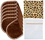 Set Of 6 FreshFace Makeup Remover Towels by CAMPANELLI, 6 Count Reusable Fresh Face Cloths with Laundry Bag and Decorative Storage Pouch (6pc Leopard)