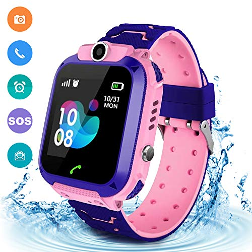 Kids Waterproof Smart Watch Phone, LBS/GPS Tracker Touchscreen Smartwatch Games SOS Alarm Clock Camera Smart Watch Christmas Birthday Gifts for School Boy Girls (Pink)