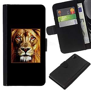 KLONGSHOP // Tirón de la caja Cartera de cuero con ranuras para tarjetas - Poster Fuego Red Lion Minimalista Negro - Sony Xperia Z2 D6502 //