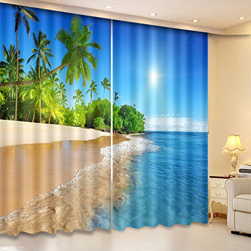 LB 3D Blackout Curtains for Bedroom and Living Room, 2 Panels Window Curtains with Image of Sunshine and Beach Scenery, 84Wx95L(Size of 2 Panels)