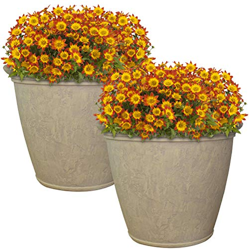 Sunnydaze Anjelica Flower Pot Planter, Outdoor/Indoor Unbreakable Double-Walled Polyresin with UV-Resistant Pebble Grey Finish, Set of 2, Large 24-Inch Diameter