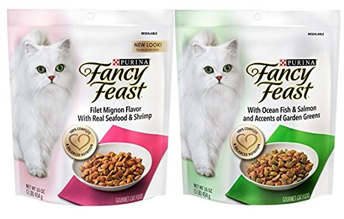 Purina Fancy Feast Gourmet Cat Food (2) Flavor Variety Bundle: (1) Filet Mignon with Real Seafood & Shrimp,and (1) Ocean Fish & Salmon and Accents of Garden Greens, 16 Ounces Each (Fancy Feast Cat Food Dry)