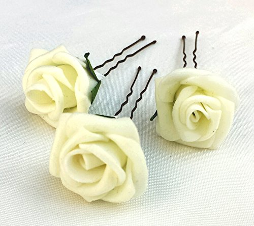 3 ivory artificial roses hair flower pins
