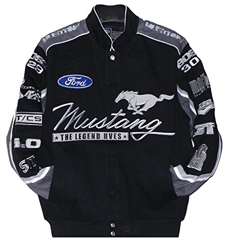 2017 Mustang Racing Cotton Embroidered Jacket Black JH Design XXLarge (Embroidered Cotton Jacket)
