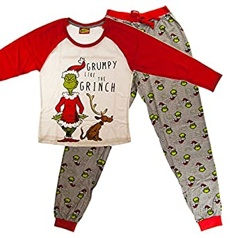 Dr Seuss The Grinch Grumpy Ladies White Pj Set Uk20 22 Amazon Co