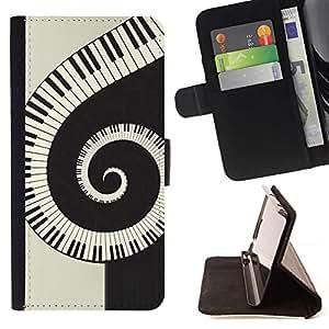 Momo Phone Case / Flip Funda de Cuero Case Cover - Música espiral Piano - Samsung Galaxy S6