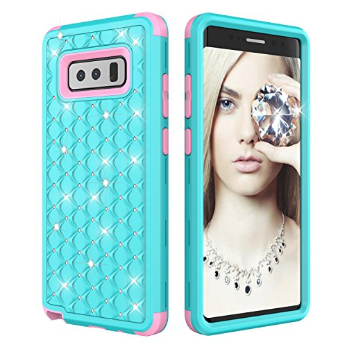Galaxy Note 8 Case, NOKEA Diamond Hybrid Heavy Duty Shockproof Full-Body Protective Case 3 in 1 Shield Soft TPU Hard PC Dual Layer Impact Protection for Samsung Galaxy Note 8 (Aqua Pink)