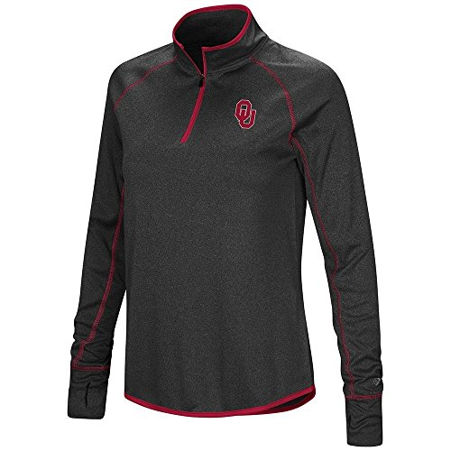 Colosseum Womens Oklahoma Sooners Quarter Zip Long Sleeve Shirt - L