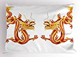 Lunarable Dragon Pillow Sham, Identical Twin Dragons on Symmetric Axis Religious Mythic Featured Heritage Animal, Decorative Standard Size Printed Pillowcase, 26 X 20 inches, Orange Red