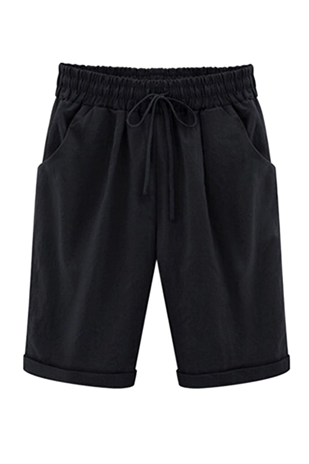 COCOLEGGINGS Womens Drawstring Waist Casual Beach Shorts Regular and Plus Sizes