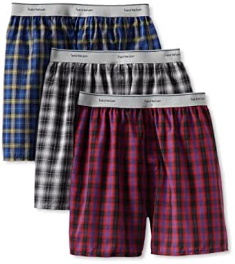 Fruit of the Loom Men's Exposed Waistband Woven Boxer - Colors May Vary, Assorted, Small(Pack of 3)