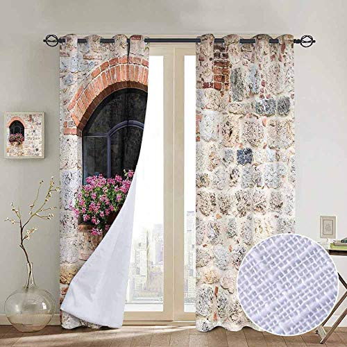 (NUOMANAN Curtains for Bedroom Tuscan,Gothic Architecture Abandoned Old Stone House Vintage Stairs in Tuscany,Ivory Pink and Salmon,Darkening and Thermal Insulating Draperies 84