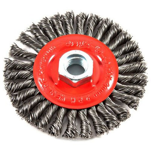 Forney 72760 Wire Wheel Brush, Stringer Bead Twist with 5/8-Inch-11 Threaded Arbor, 4-Inch-by-.020-Inch