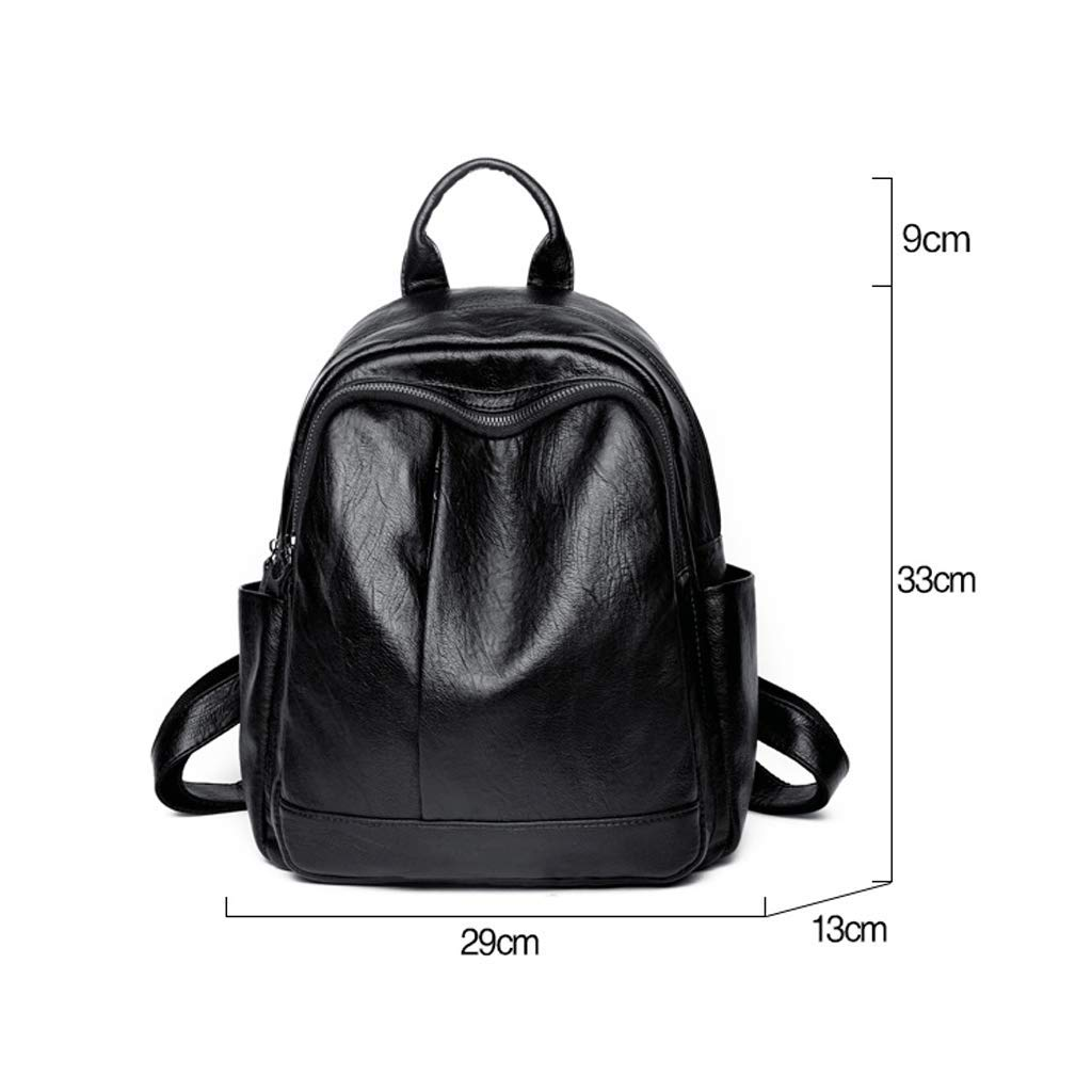 Backpack LCSHAN Shoulders Wild Trend Leather Casual Fashion Travel Large Capacity Bag Color : Black