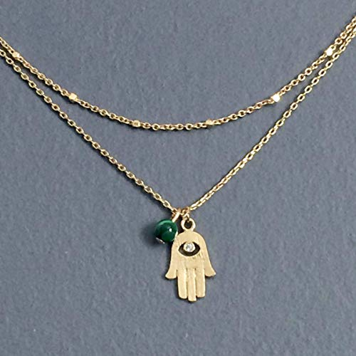 WAS $34.00 - RM JEWELRY STUDIO - two strands/layered, HAMSA necklace, simulated DIAMOND and GREEN malachite gemstone gold necklace