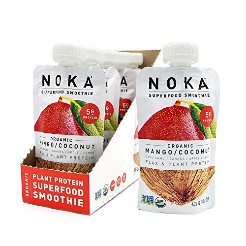 NOKA Superfood Pouches (Mango Coconut) 6 Pack | 100% Organic