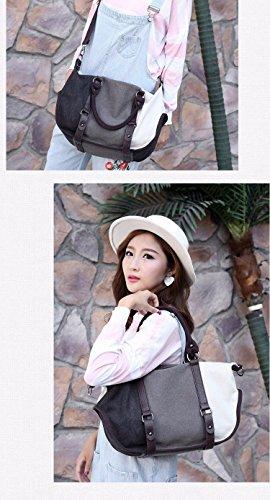 Simple Grigio spalla da donna Borsa Handbag Grigio Grande Canvas Battier Nero a Bianco 2019 Rosso New Bianco nqT1WPv