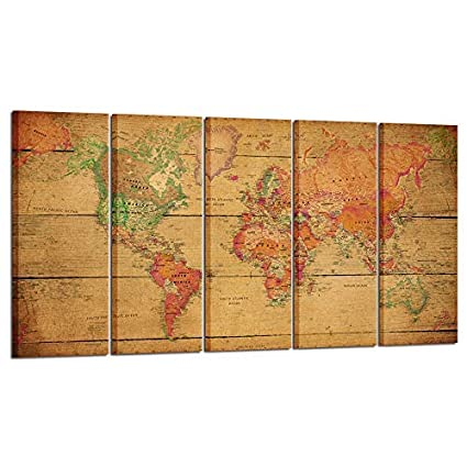 Large Vintage Map Of The World.Amazon Com Kreative Arts Large 5 Panel Vintage Map Of The World