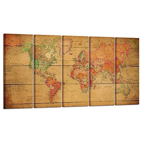 Kreative Arts Large 5 Panel Vintage Map of The World Canvas Prints Wall Art Decor Retro Poster New Antique Maps Gallery Wrapped Artwork Home Interior Ready to Hang for Office Kitchen Walls Decor