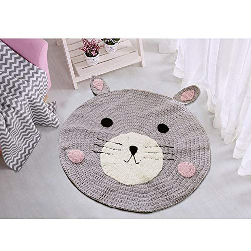 Round Rug,Baby Floor Mat Toys Storage Organizer,Nursery Rugs Large Cotton Anti-slip Cartoon Animal Game Mat Area for Kids Room Living Room, 31.5x31.5inch (Bear) by okdeals (Image #1)