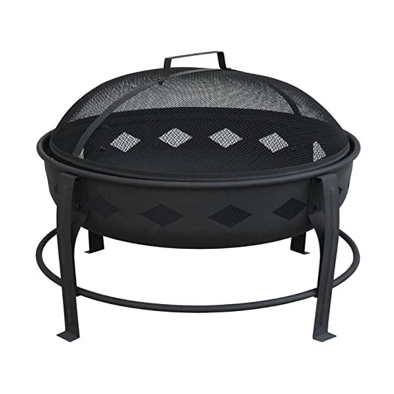 Landmann USA 21860 Bromley Fire Pit, Black - 7 inch deep fire bowl keeps wood contained Diamond cutouts enhance the fire Decorative legs - patio, outdoor-decor, fire-pits-outdoor-fireplaces - 5188veWO3dL. SS570  -