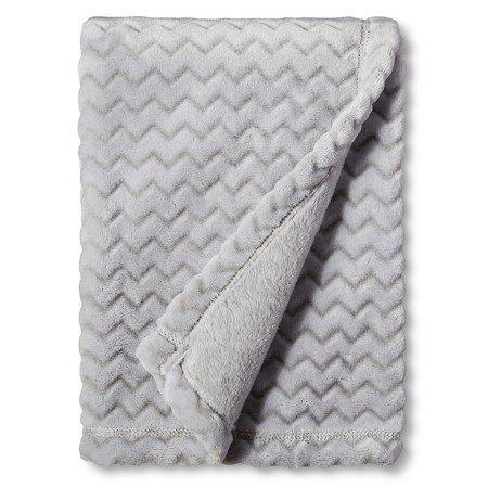 Circo™ Soft Fleece Embossed Baby Blanket - Grey Chevron
