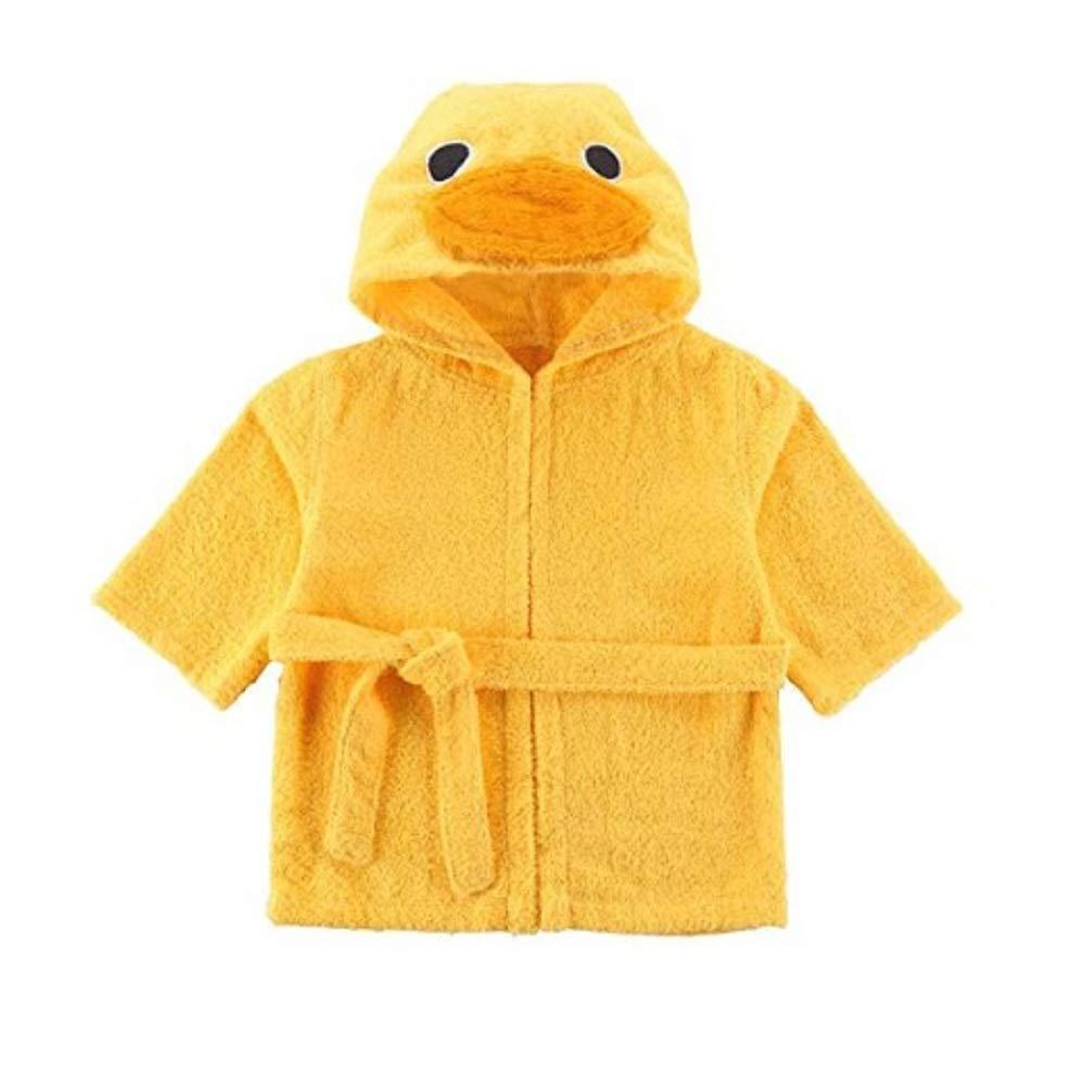Yellow, M Hooyi Yellow duck baby bathrobe towel hooded spa robe towel 110CM)