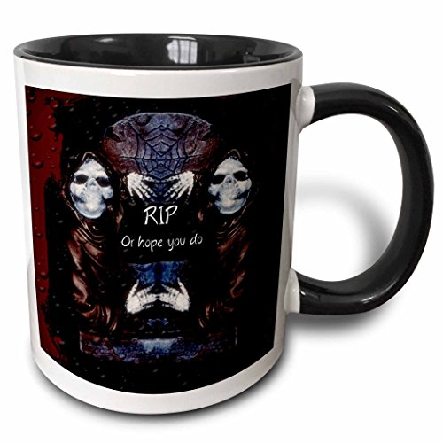 3dRose ET Photography - Halloween Designs - Grim reaper with tombstone and Halloween saying - 15oz Two-Tone Black Mug -