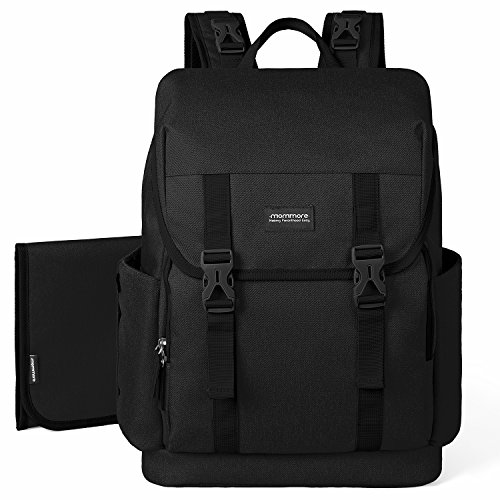 mommore Diaper Bag Backpack Large Capacity Baby Nappy Bags with Changing Pad for Mom/Daddy, Black
