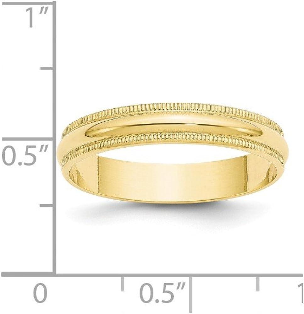 Jewelry Pilot 10K Yellow Gold 4mm Milgrain Domed Comfort Fit Wedding Band