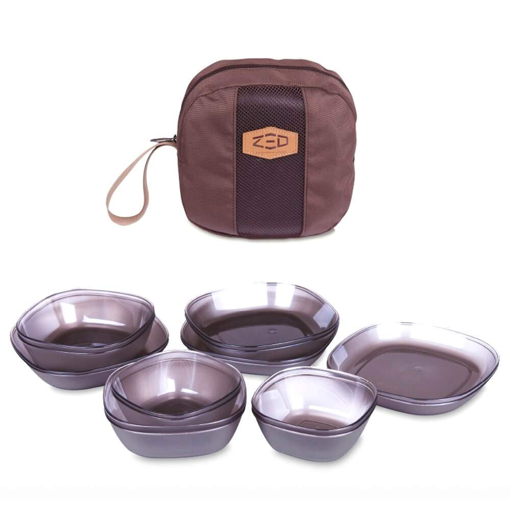 Zed Tritan Plastic Camping Tableware Set, Microwave Safe, 17 Pieces by Zed
