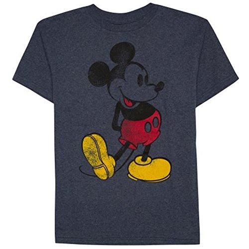 Disney Vintage Mickey Mouse Little & Big Boys T Shirt (Navy Heather, 14/16)