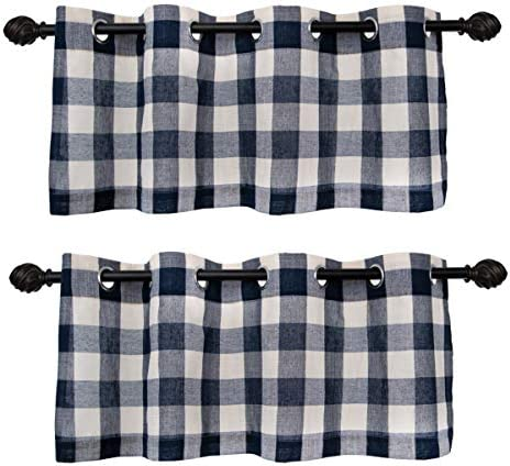 Creativesfun Buffalo Check Grommet Window Curtain Navy White, Valance W53 X L24-INCH 2PCS