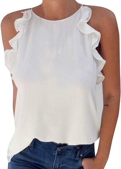 VEMOW Camisas de Mujer Mujeres Verano O-Cuello Sólido Fuera del Hombro Ruffles Manga Camisa Casual Tops Blusa: Amazon.es: Ropa y accesorios