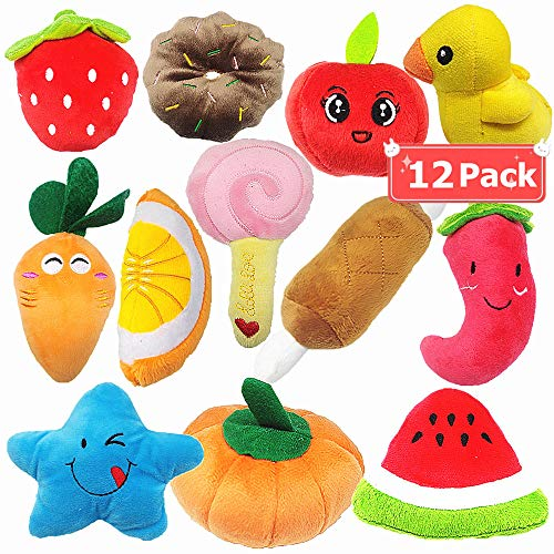 (Gavoyeat Puppy Squeaky Toys Dogs Squeak Chew Plush Toy for Small Dog Puppy Cute Fruits & Vegetables Food 12 Pack )