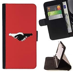 Momo Phone Case / Flip Funda de Cuero Case Cover - Armas de fuego Violencia de color rojo oscuro Diseño Pistola - Samsung Galaxy J1 J100