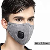 Pollution Mask Military Grade N99 Anti Dust+2 Filters Washable Cotton Respirator with Adjustable Ear Strap/Allergy/Cycling/Running/Hiking/Painting/Cleaning/Construction (Men-Grey)