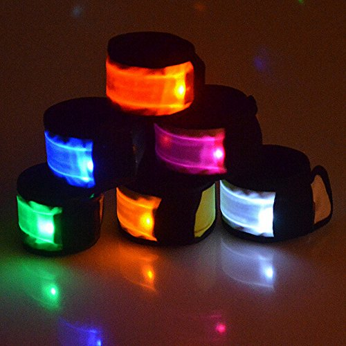 Esonstyle Pack of 6 LED Light Up Band Slap Bracelets Night Safety Wrist Band for Cycling Walking Running Concert...