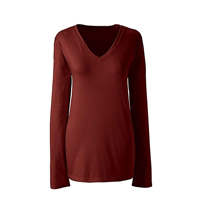 3824a72d2ef Lands  End Women s Plus Size Supima Cotton Long Sleeve T-Shirt - Relaxed V- Neck