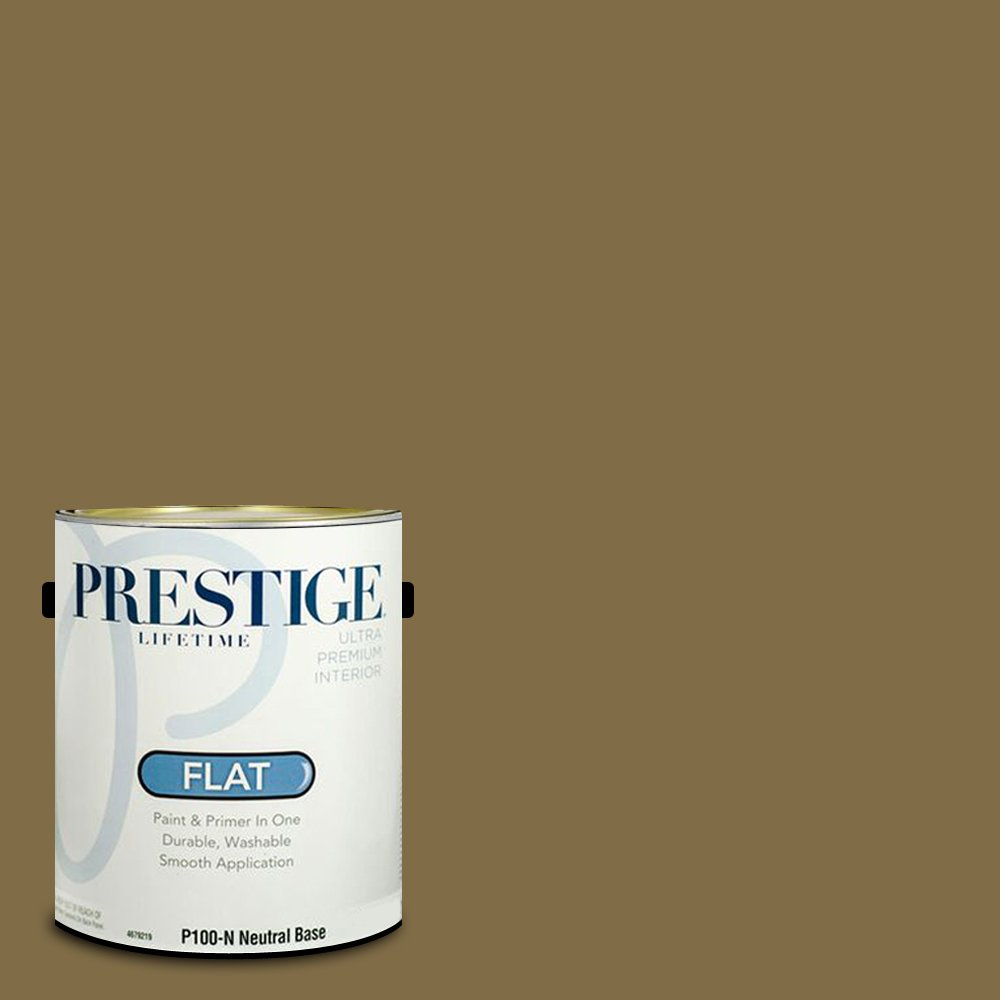 Prestige Paints Interior Paint and Primer In One, 1-Gallon, Flat,  Comparable Match of Benjamin Moore Aged Bronze