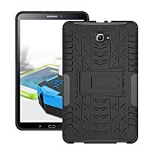 Samsung galaxy tab A 10.1 Case, Hybrid Heavy Duty Armor Protection Cover Anti Slip Built-In Kickstand Skin Case for SAMSUNG Galaxy Tab A 10.1 Inch Tablet Case (SM-T580 T585-2016 release) (Black)