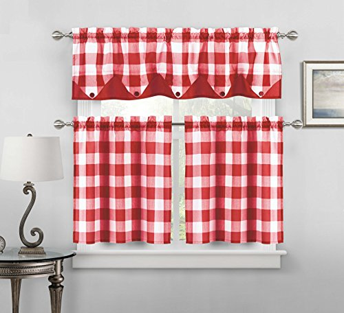 Curtain Panels Red Gingham (Sheer Small Red and White Three Piece Kitchen/Cafe Tier Window Curtain Set Gingham Check Pattern, 1 Valance, 2 Tiers 24inch L (Red and White))