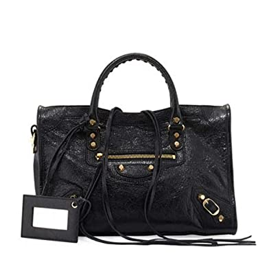 f7237b46dcd Balenciaga Giant 12 Gold City Bag, Black Lambskin Leather 281770 D94JG:  Handbags: Amazon.com