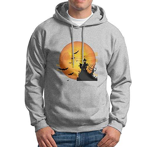 PEGGYNCO Men's Halloweentown Pullover Long Sleeve Hoodie Sweatshirt Active Casual Jackets Cozy Sport Outwear Ash L ()