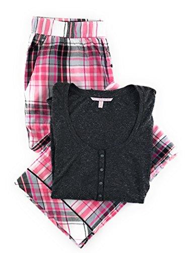 eamer Henley Pajama Set Dark Gray/White Pink Plaid Small ()