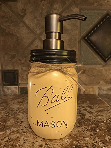 Soap Dispenser Mason Canning JAR Hand PAINTED & Distressed B