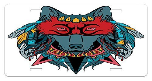 zaeshe3536658 TribaLicense Plate, Ethnic Warrior Wolf Portrait with Mask Feathers Native American AnimaArt, High Gloss Aluminum Novelty Plate, 6 X 12 Inches, TeaWhite and Red