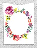 Ambesonne Watercolor Flower Decor Collection, Flower Wreath Romantic and Floral Frame Design, Bedroom Living Kids Girls Boys Room Dorm Accessories Wall Hanging Tapestry, Pink White Teal Green